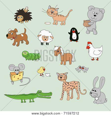 set of various cartoon animals and birds