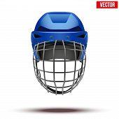 Classic blue Goalkeeper Ice Hockey Helmet. Sports Vector illustration isolated on white background. poster