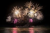 colourful Fireworks display for new year festival poster