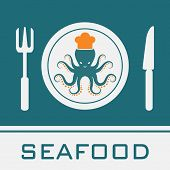 Squid Fork Knife Dish icon, Restaurant sign poster