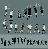 This is a collection of basketball players in both separate pieces and silhouette forms. poster