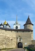 the wall with tower in Pskov Krom (Kremlin) Russia poster