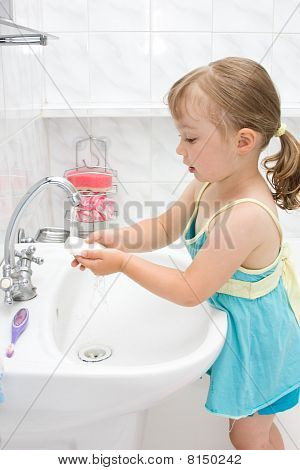 Little Girl In Bathroom