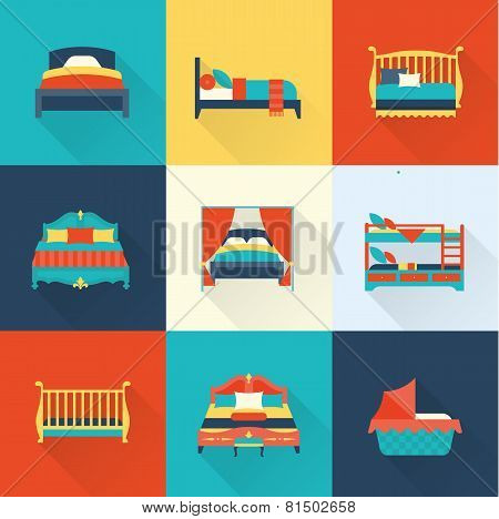 Vector bed icon set