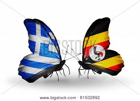 Two butterflies with flags on wings as symbol of relations Greece and Uganda poster