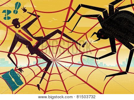 Businessman Caught In A Spiders Web.