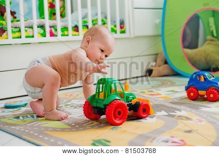 kid boy toddler playing toys