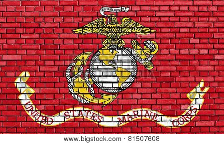 Flag Of United States Marine Corps Painted On Brick Wall