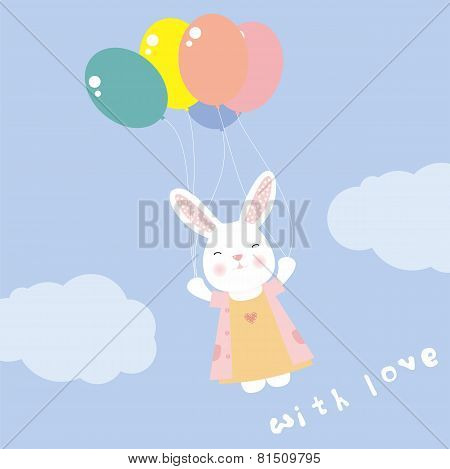 cute rabbit flying on balloons in the sky