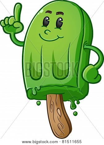 Lime Green Popsicle Cartoon Character