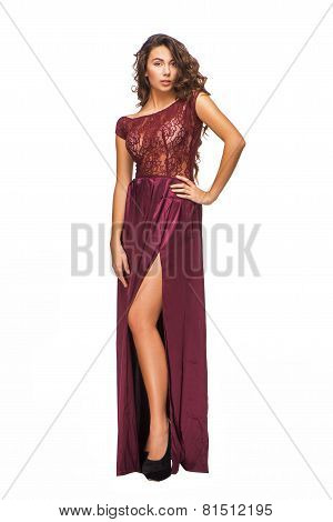 Stunning young woman wearing evening dress