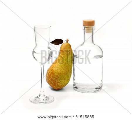 Pear Abate Fetel With Glass And Alcohol Bottle