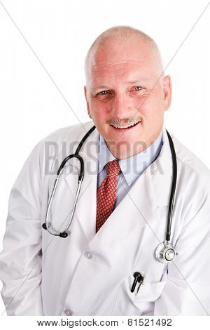 Portrait of handsome middle aged doctor with thinning gray hair.  White background