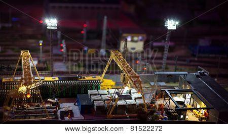 Night View Of Cargo Railway Station