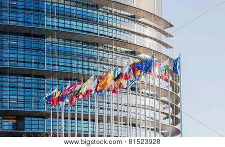 European Parliament Facade With All Eu European Union Country Flags