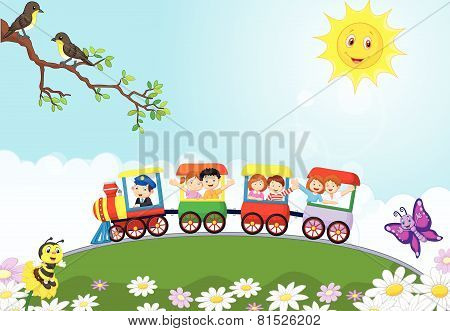 Happy kids cartoon on a colorful train