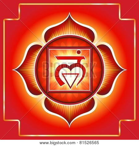 Muladhara. Decorative design element esoteric Buddhistic symbol of the chakras poster