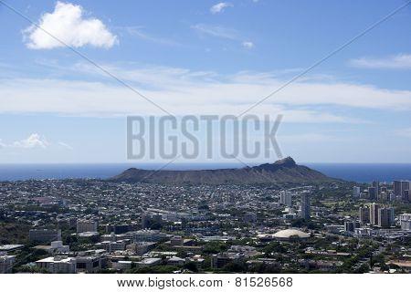 Aerial View Of Diamondhead, Kapiolani Park, Waikiki, Ala Wai Canal And Kapahulu Town
