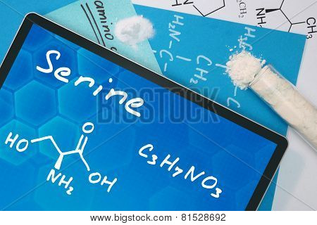 Tablet with the chemical formula of Serine