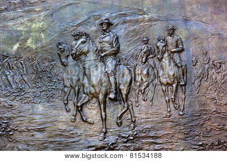 General Sherman Civil War Memorial Bronze Bas Relief Marching Through Georgia Pennsylvania Avenue Wa
