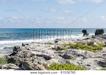 View of the east coast Isla Mujeres, Mexico. The island is located 8 miles east of Cancun in the Gulf of Mexico.