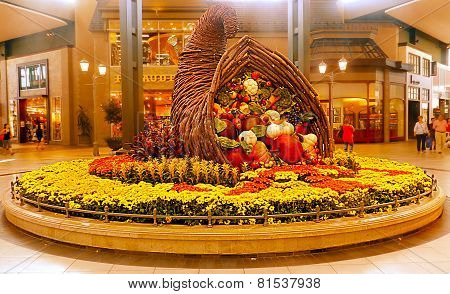 Carrefour Laval interior mall, Canada Basket of fruits and vegetables