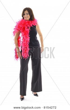woman with pink boa vertical