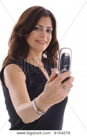 woman taking photo with camera phone (focus on woman)