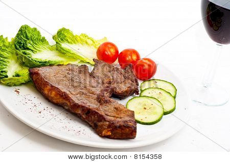 Juicy Steak and wine