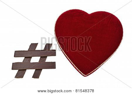 Chocolate Hashtag Symbol With Heart Shaped Box