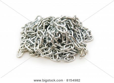 Metal Chain Isolated On The White Background
