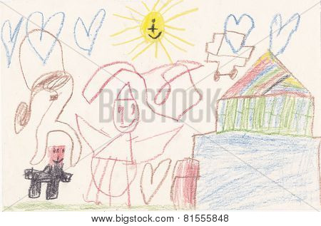 Child Picture Of  House, Creatures, Sun And Hearts