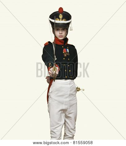 Boy In Uniform Of Soldier Of Xix Century