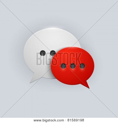 Vector button red and white speech bubbles