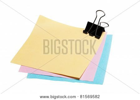 Stock Photo: post-it note paper with binder clip isolated