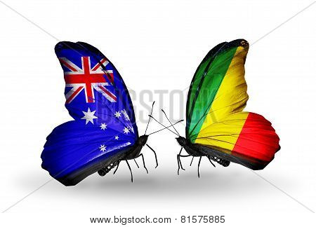 Two Butterflies With Flags On Wings As Symbol Of Relations Australia And Kongo