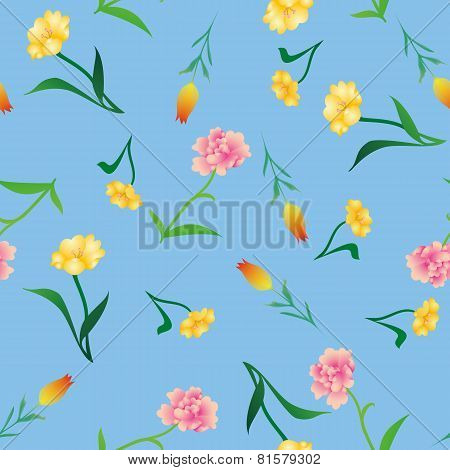 various flowers batic background