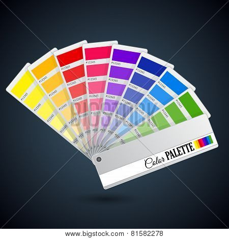 Bright color palette guide. Catalogue cards with paint icons poster