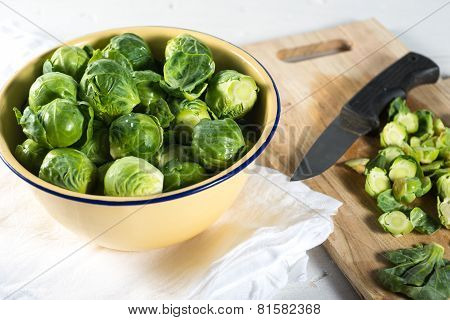 Bowl Of Chopped Green Brussel Sprouts
