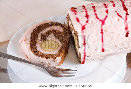Sweet Banana Cake Creamy Desert With Plate And Fork