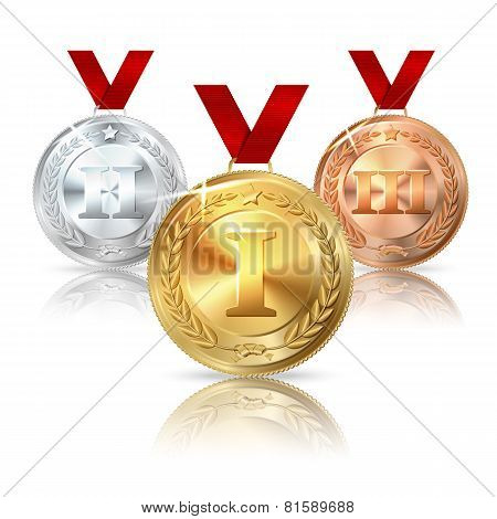 Vector Golden, Silver and Bronze medal with red ribbons.