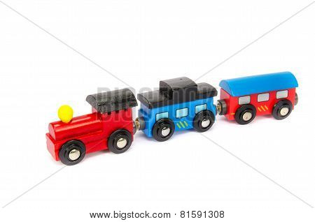 Wooden Toy Train With Colorful Blocs Isolated