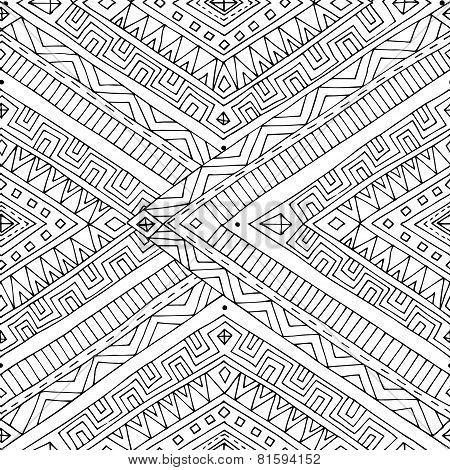 Seamless asian ethnic doodle black, white pattern.