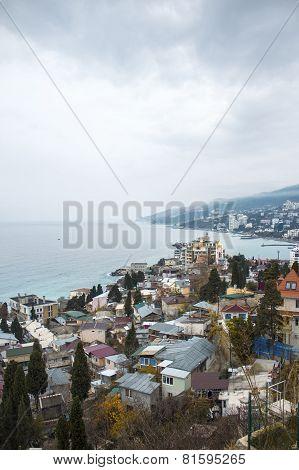 Many of buildings city near the sea view. Yalta, Crimea, Russia