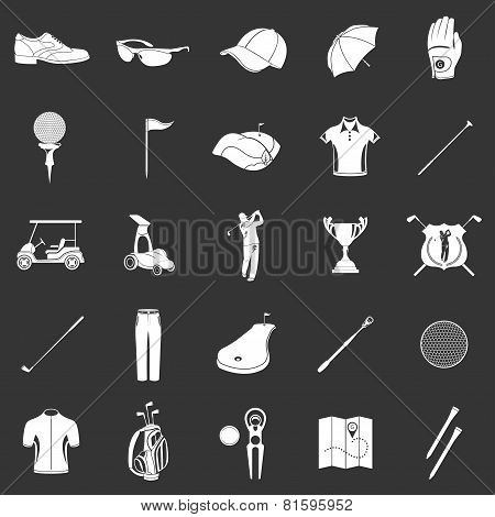Vector Icons And Symbols Of Golf On A Dark Background.