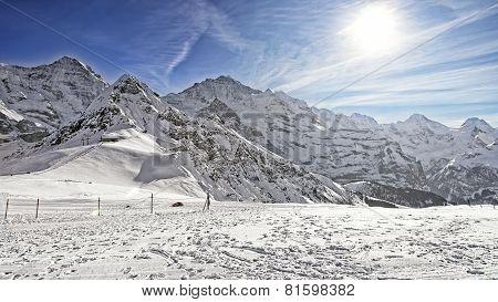 Monch, Jungfrau And Tschuggen Alpine Peaks