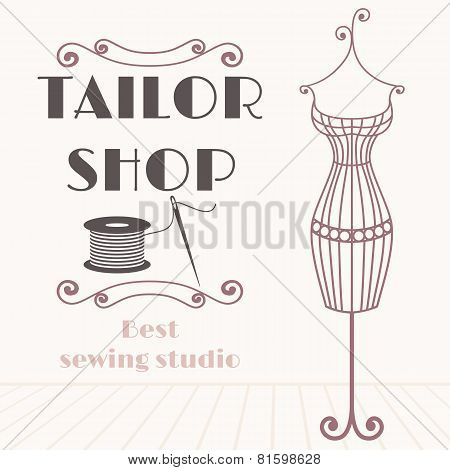 Vintage Iron Mannequin Background With Sewing Icon