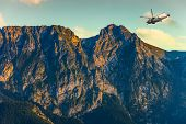 Helicopter in the Tatra Mountains - rescue mission. poster