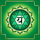 Anahata. Decorative design element esoteric Buddhistic symbol of the chakras poster