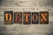 """The word """"DETOX"""" written in vintage wooden letterpress type. poster"""